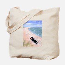 """""""Dog Running On The Beach"""" Tote Bag"""