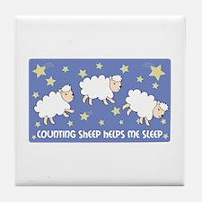 Counting Sheep Helps Me Sleep Tile Coaster