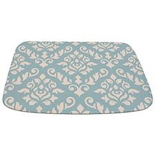 Baroque Damask Design Cream On Blue Bathmat