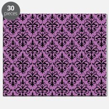 Radiant Orchid & Black Damask 41 Puzzle