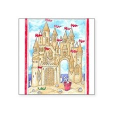 "Sandcastle  Square Sticker 3"" x 3"""