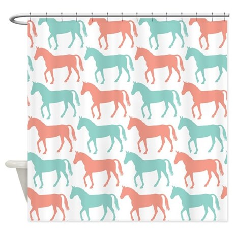 Coral And Teal Horse Pattern Shower Curtain By Starzraven