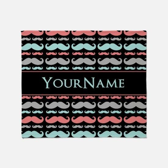Monogram Girly Mustache Chic Throw Blanket