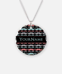 Monogram Girly Mustache Chic Necklace