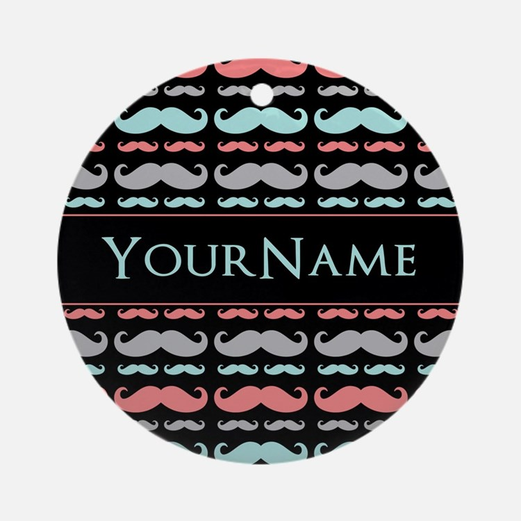 Monogram Girly Mustache Chic Ornament (Round)