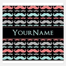 Monogram Girly Mustache Chi Invitations