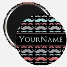 Monogram Girly Mustache Chic Magnet