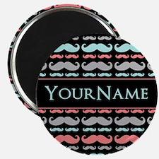 "Monogram Girly Mustache Ch 2.25"" Magnet (100 pack)"