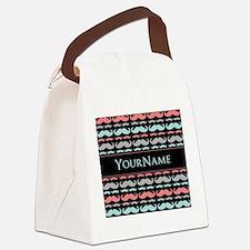 Monogram Girly Mustache Chic Canvas Lunch Bag