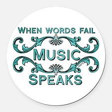 Music Speaks Round Car Magnet