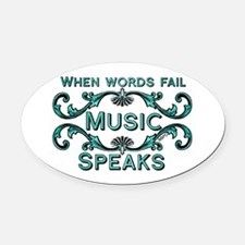 Music Speaks Oval Car Magnet
