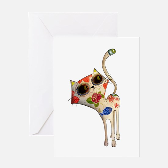 White Mexican Cat Greeting Cards