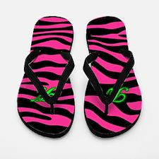 HOT PINK ZEBRA GREEN K Flip Flops