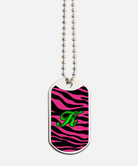 HOT PINK ZEBRA GREEN K Dog Tags