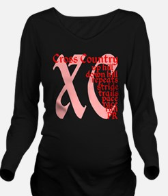 Cross Country XC red Long Sleeve Maternity T-Shirt