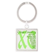 Cross Country XC green Square Keychain