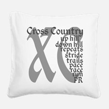 Cross Country XC grey gray Square Canvas Pillow