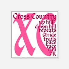 """Cross Country XC pink Square Sticker 3"""" x 3"""""""