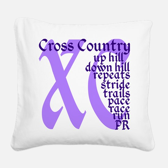 Cross Country XC purple Square Canvas Pillow