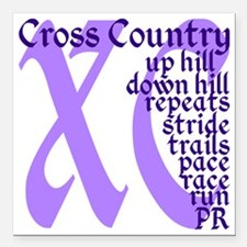 """Cross Country XC purple Square Car Magnet 3"""" x 3"""""""