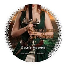 Celtic Hearts Irish Musette Round Car Magnet