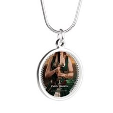 Celtic Hearts Irish Musette Silver Round Necklace
