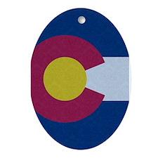 Flag of Colorado Damask Pattern Ornament (Oval)