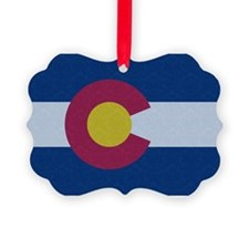 Flag of Colorado Damask Pattern Ornament