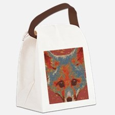 Red Fox Print Canvas Lunch Bag