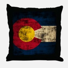 Grunge Colorado Flag Throw Pillow
