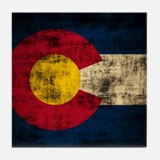 Grunge Colorado Flag Tile Coaster