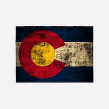 Grunge Colorado Flag 5'x7'Area Rug