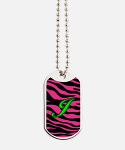 HOT PINK ZEBRA GREEN J Dog Tags