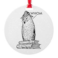 Grammar Owl Says Whom Ornament
