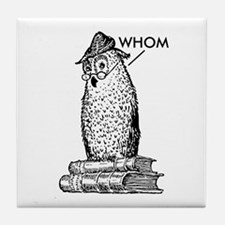 Grammar Owl Says Whom Tile Coaster