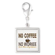 Art Professor No Coffee No Wo Silver Square Charm