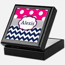 Pink Navy Dots Chevron Personalized Keepsake Box