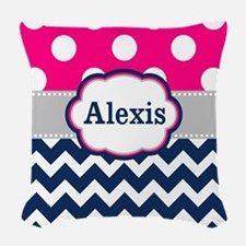 Pink Navy Dots Chevron Personalized Woven Throw Pi