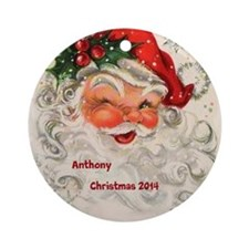 Personalized Santa Claus Vintage Ornament (round)