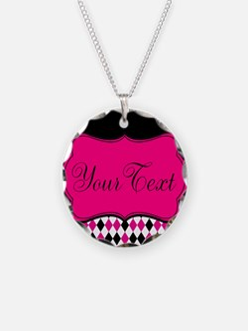 Pink Black White Diamonds Personalizable Necklace