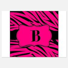 Personalizable Hot Pink Zebra Invitations