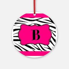Personalizable Hot Pink Black Zebra Ornament (Roun