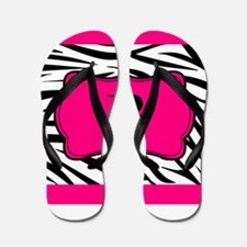 Personalizable Hot Pink Black Zebra Flip Flops