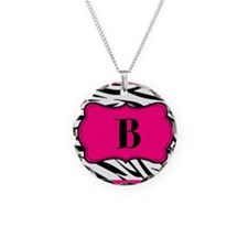 Personalizable Hot Pink Black Zebra Necklace