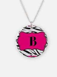 Personalizable Hot Pink Black Zebra Necklace