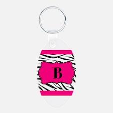 Personalizable Hot Pink Black Zebra Keychains