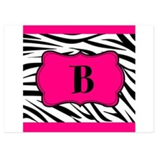 Personalizable Hot Pink Black Zebra Invitations