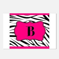 Personalizable Hot Pink Black Zebra Postcards (Pac