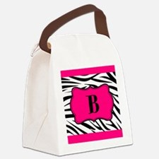 Personalizable Hot Pink Black Zebra Canvas Lunch B