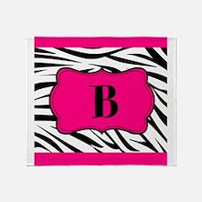Personalizable Hot Pink Black Zebra Throw Blanket